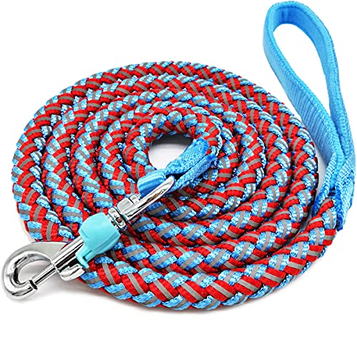 Mycicy Mountain Climbing Rope Dog Leash - 4FT 6FT 10FT Reflective Nylon Braided Heavy Duty Dog Training Leash for Large Medium Small Dogs Walking Lead (red)