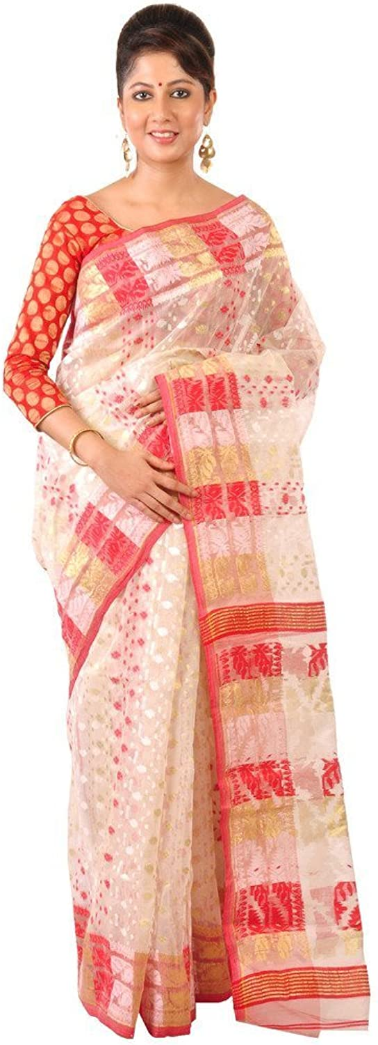 Ruprekha Fashion Women's Cotton Silk Handloom Dhakai Jamdani Saree