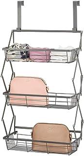 mDesign Wisząca półka na drzwi – wisząca półka w stylu retro z 3 metalowymi koszami drucianymi – wisząca półka do kuchni, ...