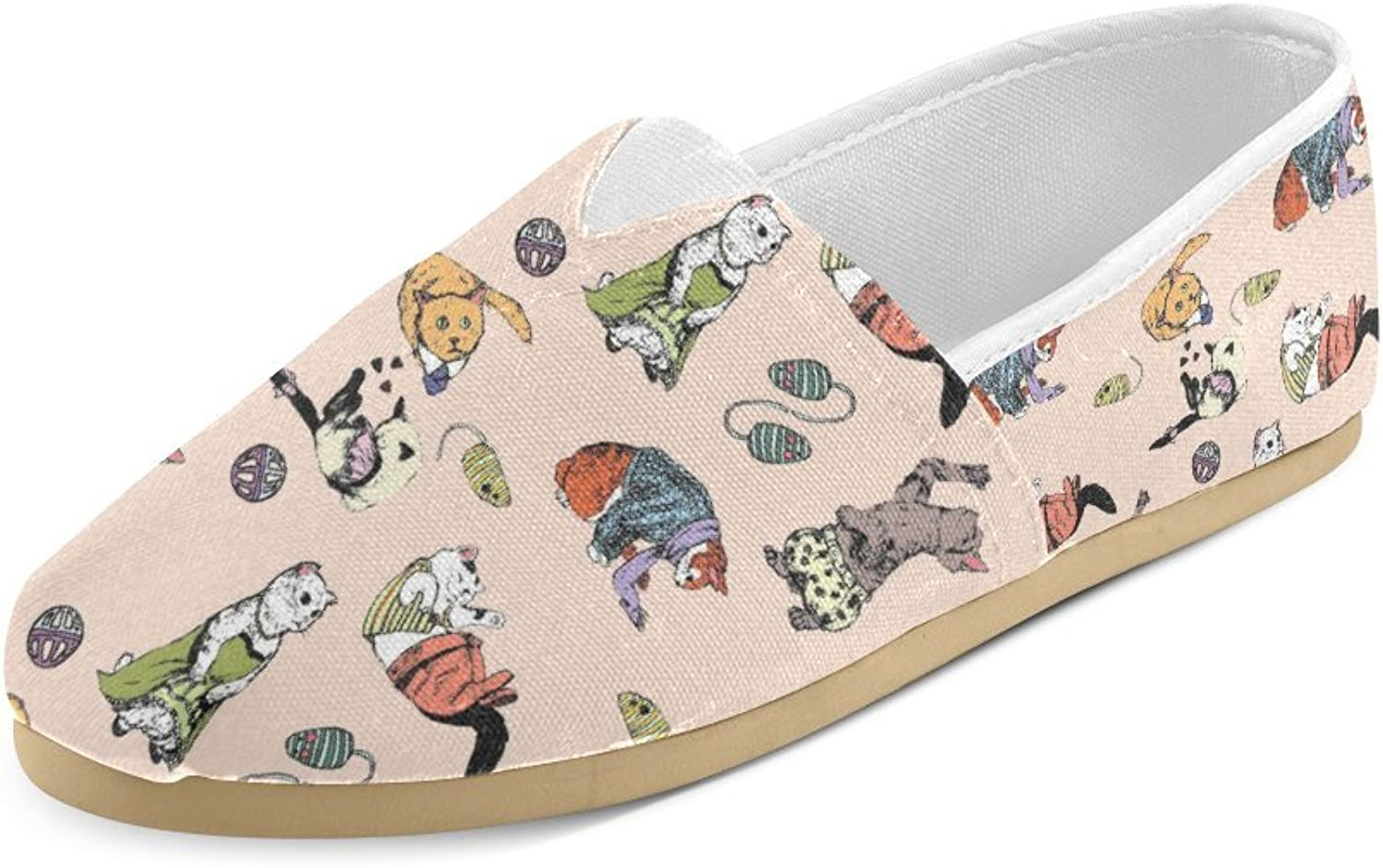HUANGDAISY Unisex shoes Play Cats Casual Canvas Loafers for Bia Kids Girl Or Men