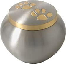 Pet Cremation Brass Pet Urn with Golden Pawprints Medium