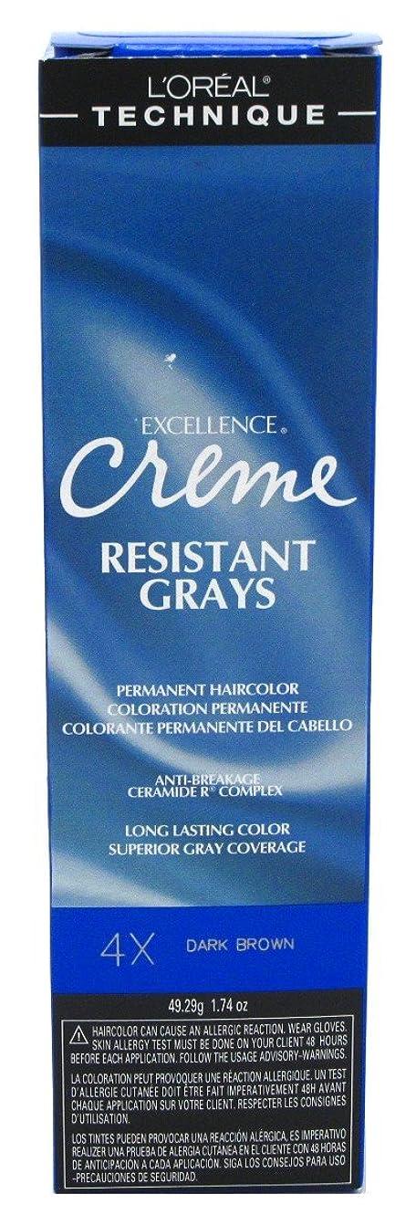 クレアチャンバーバラ色L'Oreal Paris ロレアルエクセルクリーム#4Xダークブラウン1.74Oz(2パック)レジスト
