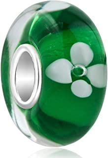 LilyJewelry Green White Flower Murano Glass 925 Silver Core Bead Fits Charm Bracelets