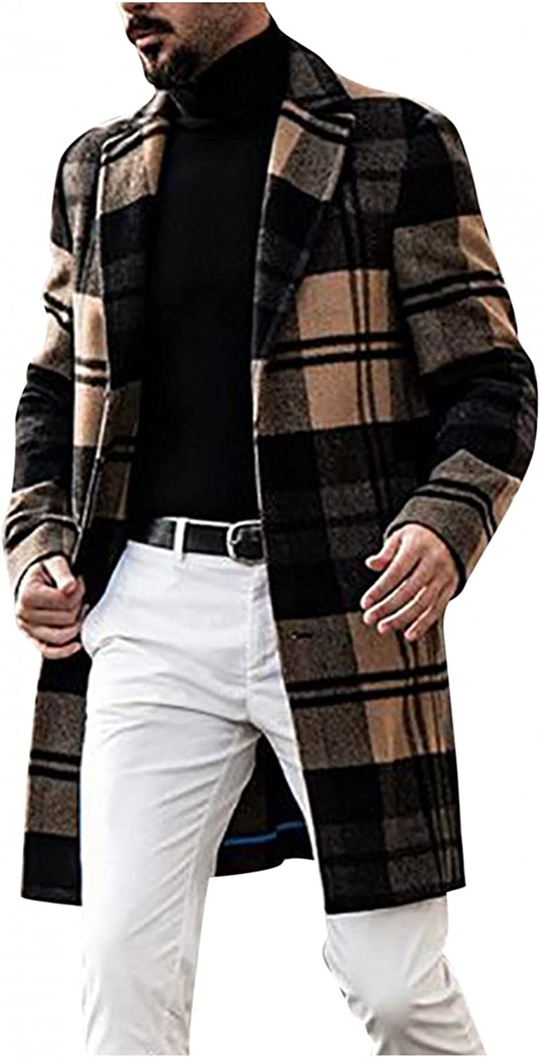 Huangse Men's Casual Notched Collar Plaid Single Breasted Wool Blend Formal Trench Top Coat Long Windbreaker Jacket