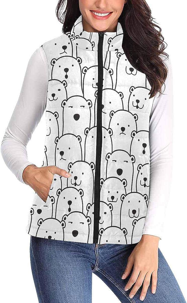 InterestPrint Women's Full Zip, Sleeveless Padded Vest Sweaters with Pocket Polar Bear