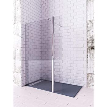 Modelo TELLA - Mampara de ducha de 1 hoja fija + 1 abatible - Cristal 6 mm con ANTICAL INCLUIDO (80 + 40 cm): Amazon.es: Bricolaje y herramientas