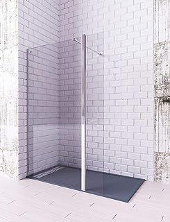 Modelo TELLA - Mampara de ducha de 1 hoja fija + 1 abatible - Cristal 6 mm con ANTICAL INCLUIDO (120 + 40 cm)
