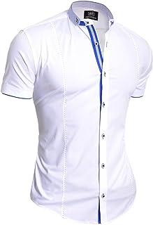 D&R Fashion Men's Elegant Short Sleeve Shirt Smart Grandad Collar Cotton White Royal Blue