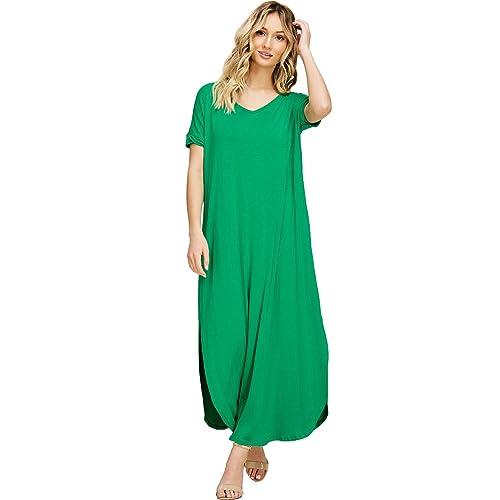 88ae40fdfb Annabelle Women s V Neck Short Sleeve Split Long Maxi Dresses with Pockets
