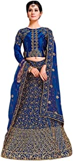 Step N Shop Women Satin Lehenga Choli Embroidery Indian Bollywood Designer Ready to Wear Weeding Function Engagement Recep...