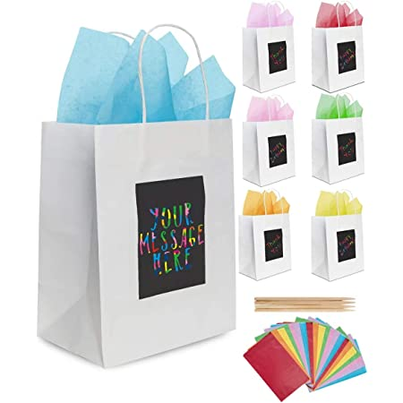 Purple Ladybug 7 White Gift Bags with Handles, Tissue Papers, & Scratch Paper Panel for Customization - Small Gift Bags in Bulk & Party Favor Bags for Birthday, Father's Day, & More - Patent-Pending