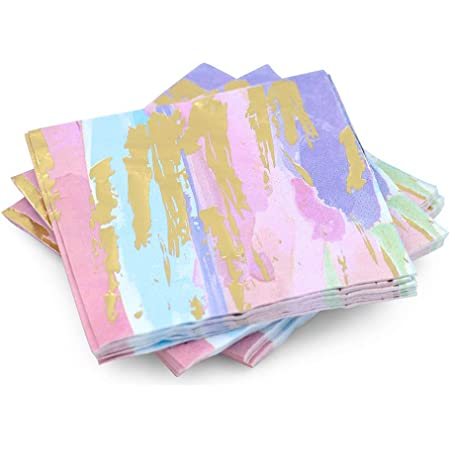 Amazon Com Rainbow Foil Floral Paper Napkins For Birthday Party 6 X 6 In 50 Pack Cocktail Napkins