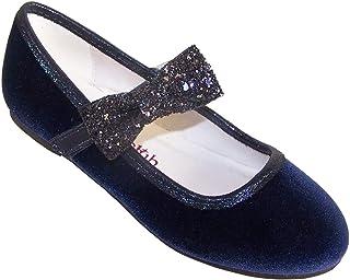 Zapatos de bailarina de fiesta de terciopelo azul oscuro y niña de las flores