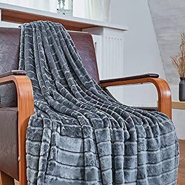 Bertte Ultra Velvet Plush Super Soft Decorative Stripe Throw Blanket-50 x 60 , Dark Grey