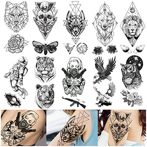 VANTATY 10 Sheets Geometric Star Lion Kings Gangster Death Skull Temporary Tattoo Stickers For Men Tiger Planets Bear Owl Moth Women Arm Waterproof Fake Tattoos Wrist Art Eagle AK Gun Adults