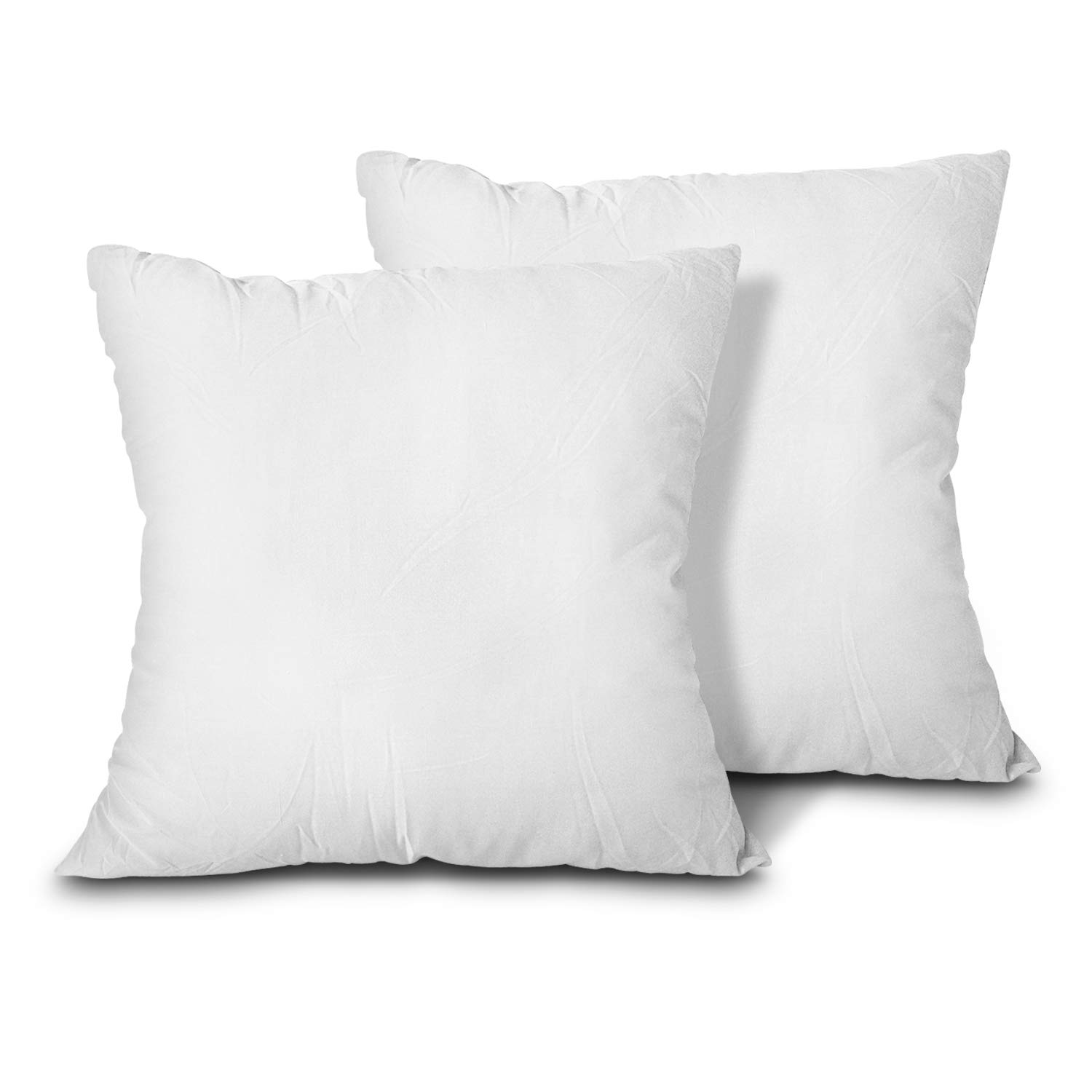 EDOW Throw Pillow Inserts, Set of 2 Lightweight Down Alternative Polyester Pillow, Couch Cushion, Sham Stuffer, Machine Washable. (White, 12x12)