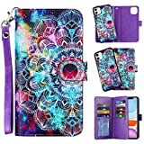 Vofolen 2-in-1 Case for iPhone 11 Case Wallet Credit Card Holder ID Slot Detachable Hybrid Protective Slim Hard Shell Magnetic PU Leather Folio Pocket Flip Cover for iPhone 11 6.1 inch (Mandala)