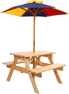 Keezi Kids Picnic Table with Umbrella Wooden Indoor Outdoor Garden Table Benches Set