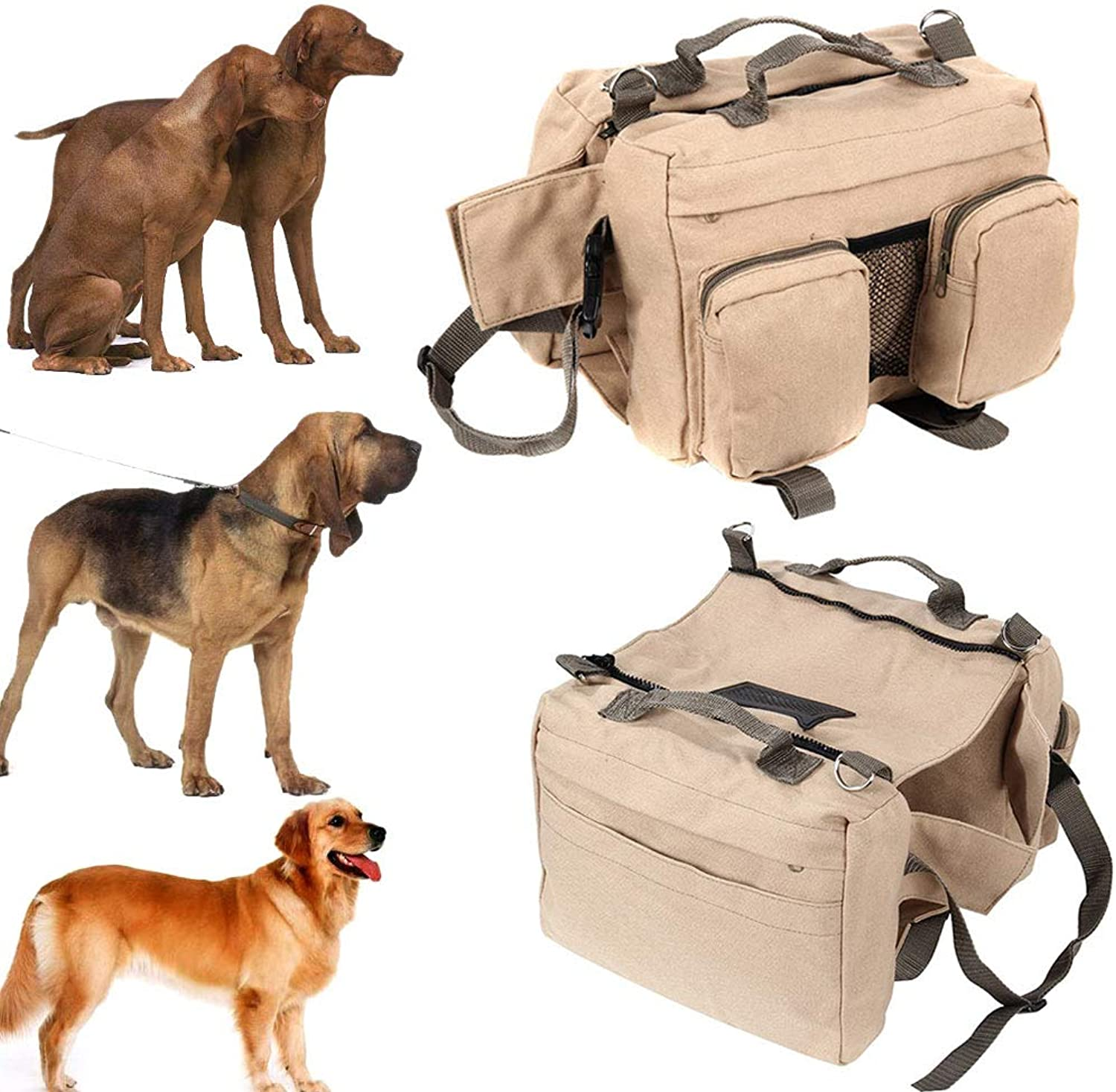 Large Dog Pack Hound Backpack Foviza Travel Rucksack Carrier Dogs Saddle Bag for Hiking