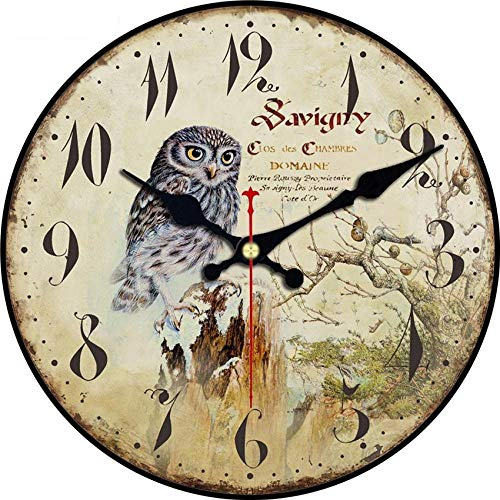 Large Vintage Rustic Wooden Wall Clock Kitchen Antique Shabby Chic Retro Owl Clocks Wall Operated Silent Animal-40cm