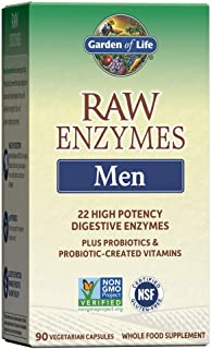 Garden of Life Digestive Enzymes for Men - Raw Enzymes for Digestion, Gut Health, Bloating, 22 Enzymes - Bromelain Papain ...