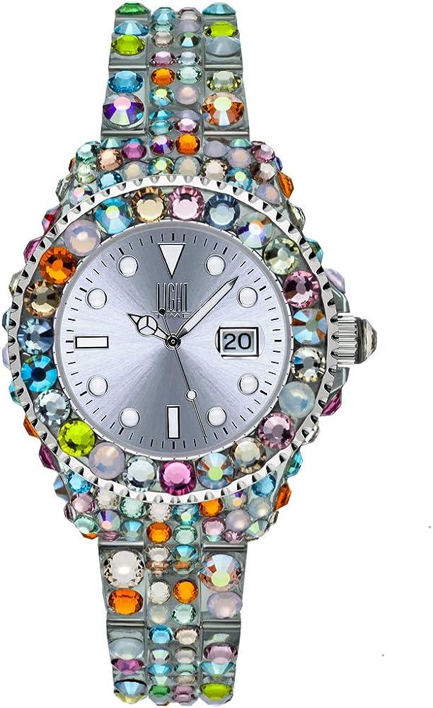 Light time mediterraneo, orologio per donna, in policarbonato con 300 cristalli preciosa L603N