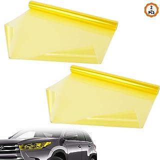 Yangfei 2 Stuks Auto Licht Film, Zelfklevende Auto Koplamp Film Gouden Vinyl Koplamp Tint Waterdichte auto licht tint voor...