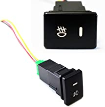 iJDMTOY (1) Factory Style 4-Pole 12V Push Button Switch w/LED Background Indicator Lights For Fog Lights, DRL, LED Light Bar, etc (200 Series For Toyota, 33x22mm)