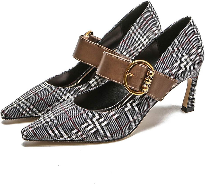 CYBLING Womens Fashion Pointy Toe Low Heel Pumps Buckle Strap Office Dress Slip On Dress shoes
