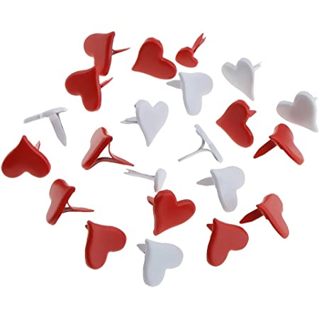 Amosfun 50PCS Heart Shape Brads Mini Pastel Brads Scrapbooking Embellishment DIY Paper 11mm Red
