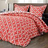 downluxe Lightweight Printed Comforter Set (Queen, Coral) with 2 Pillow Shams - 3-Piece Set - Down Alternative Reversible Comforter