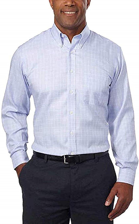 Kirkland Signature Men's Traditional Fit 100% Cotton Non-Iron Spread Collar Dress Shirt (Blue Purple Check, 17.5x32/33)