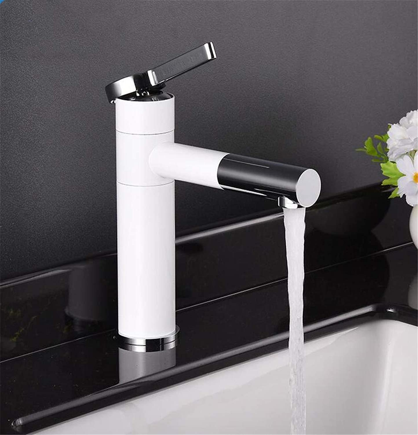 Newater White Bathroom Brass Tap Mixer Chrome Faucet Single Hole Hot Cold Faucet Water Basin Sink Elegant Basin Faucet