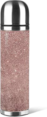 Stainless Steel Water Bottle Girly Glam Pink Rose Gold Foil and Glitter Mesh Insulated Vacuum Leather Leak Proof Double Walle