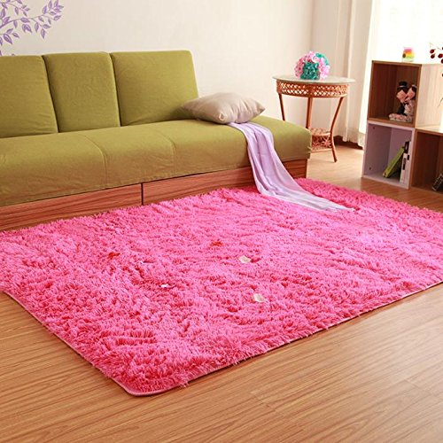 KOOCO 200X250CM Pastoral Big Carpets for Living Room Home Bedroom Rugs and Carpets 4.5CM Fur Non-Slip Coffee Table Area Rugs Play Mat, Rose Red, 200CMx250CM