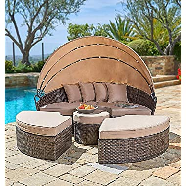 SUNCROWN Outdoor Patio Furniture Brown Wicker Patio Round Daybed with Retractable Canopy | Clamshell Sectional Seating w/Table | All-Weather Washable Cushions | Patio, Backyard, Porch, Pool