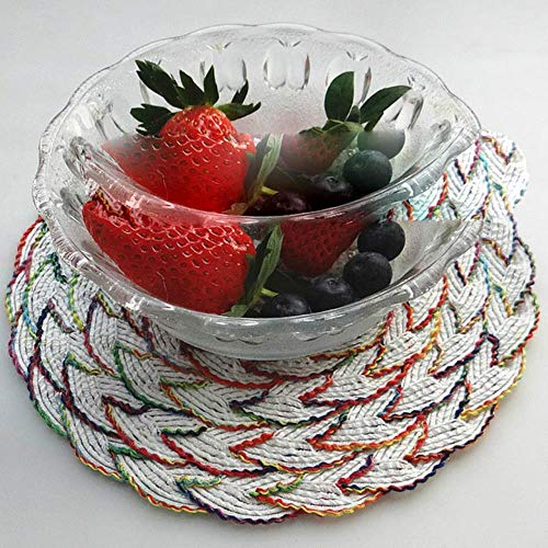 JIAYAN PVC Cotton Yarn Lace Drink Coasters Dining Table Dish Cup Mat Placemat Bowl Tea Party Kitchen Accessories Decoration Home Decor