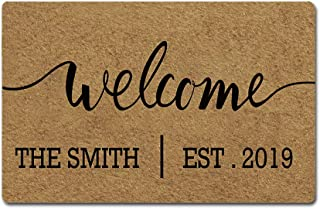 Artsbaba Custom Family Name Personalized Doormat Welcome Est.Date Door Mat Rubber Non-Slip Entrance Rug Floor Mat Funny Home Decor Indoor Mat 23.6 x 15.7 Inches, 3/16