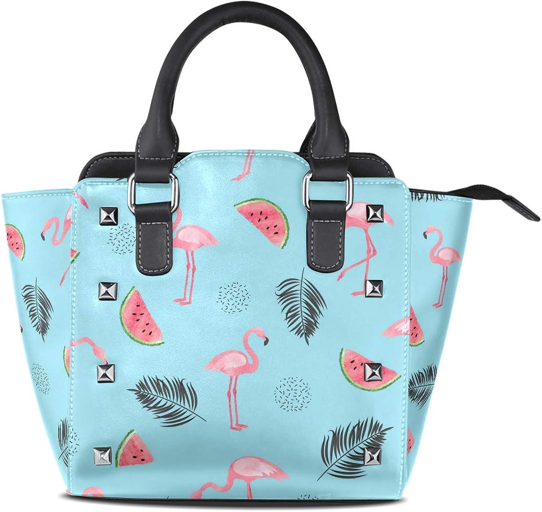 My Little Nest Women's Top Handle Satchel Handbag Trendy Watercolor Flamingos Ladies PU Leather Shoulder Bag Crossbody Bag