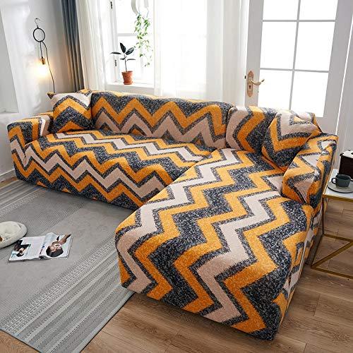 Fundas elásticas para sofá a Cuadros para Sala de Estar, Fundas para sofás con Chaise Longue, Funda para sofá, Funda para sillón A22, 2 plazas