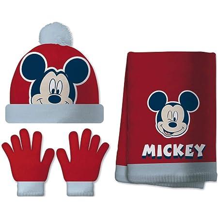 ARDITEX WD13243 Set de Guantes mágicos, Gorro y Bufanda de Punto de Disney-Mickey