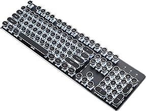 Gskj Teclado de Juego Teclado mecánico Carga Bluetooth inalámbrico Teclado mecánico Punk Retro Tapa Redondo Portátil Ordenador de Escritorio Teléfono Tablet Teclado