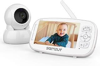 """Monitor de bebé Samzuy 1080P 5"""" HD Monitor de bebé con cámara y audio, batería de 5200mAh, alcance de 1000 pies, audio bidireccional, visión nocturna, monitor térmico."""
