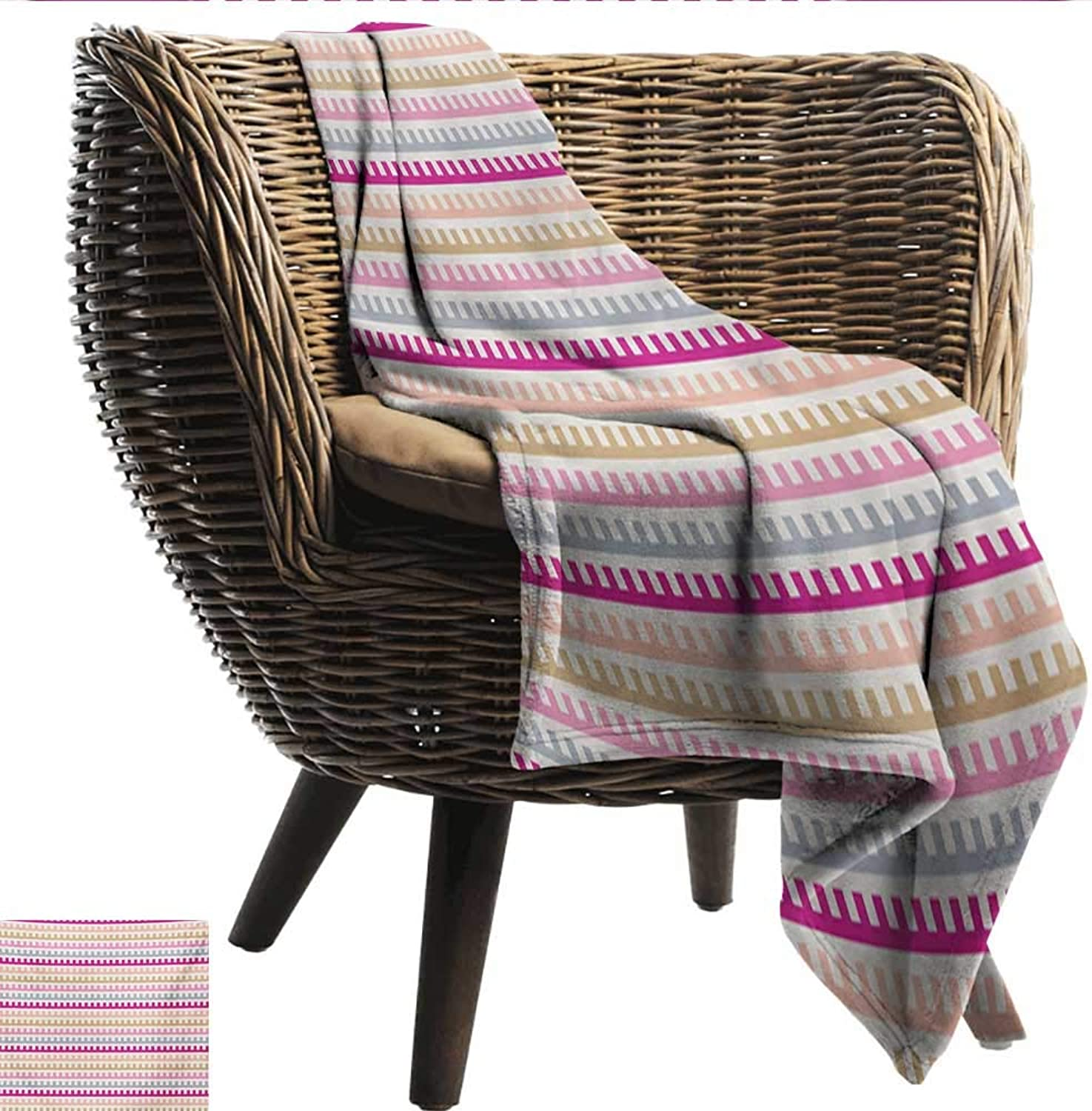 Anshesix Warm Blanket colorful Maze Like Labyrinth Inspired Pattern Horizontal Soft colord Old Fashioned Retro Print Summer Quilt Comforter W60 xL51 Sofa,Picnic,Camping,Beach,Everyday use