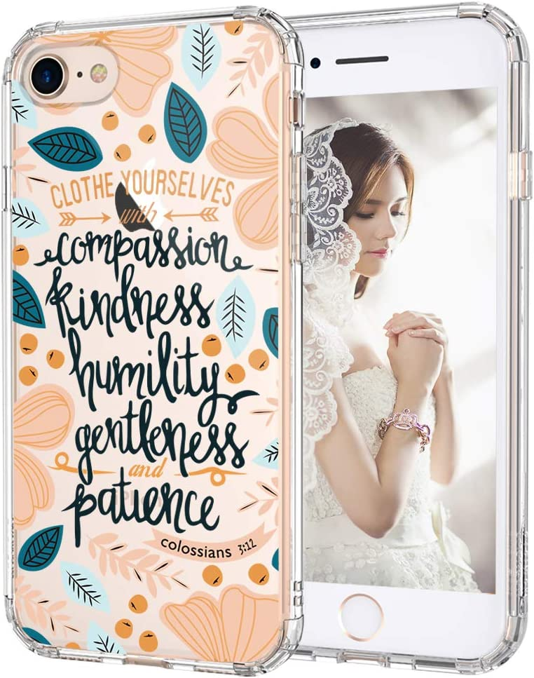 MOSNOVO Compatible for iPhone SE 2020 Case/iPhone 8 Case/iPhone 7 Case, Clear Clothe Yourselves Floral with Flower Quote Print Design Girl Women with TPU Bumper Case Cover for iPhone 7/8/SE 2nd