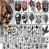 Tatuajes Temporales 56 Piezas-Tatuaje de Brazo Impermeable Tatuaje Diminuto, Coronas de Flores Colección de Dragones Animales Tats para Adultos Hombres y Mujeres
