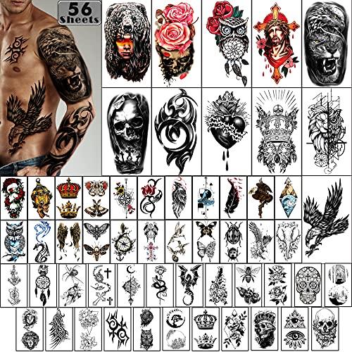 Metuu 56 Blatt Adlerkronen Tiere Skelett Totem Temporäre Wasserdichte Tattoos für Erwachsene Männer Halbarm Schulter Fake Tattoos Aufkleber für Teens Körper Unterarm (11 & 45)