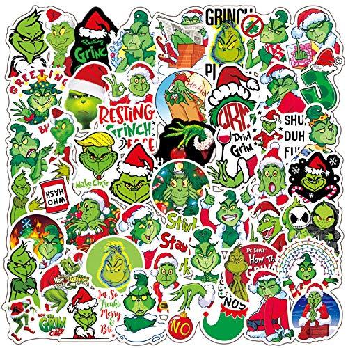 WUWEI Navidad Monster Jay Greinke Pegatina de Vacaciones PVC Graffiti Maleta Maleta Guitarra portátil Pegatina Impermeable 50 Uds