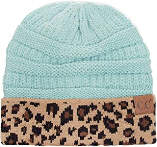 ScarvesMe Women Classic Solid Color with Leopard Cuff Beanie Skull Cap