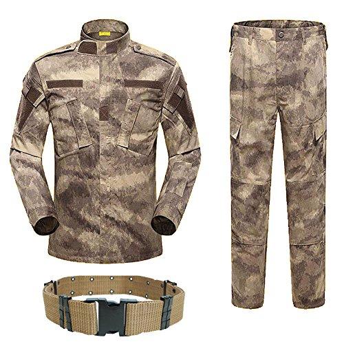 H World EU Uniforme militaire tactique pour homme avec chemise et pantalon avec ceinture